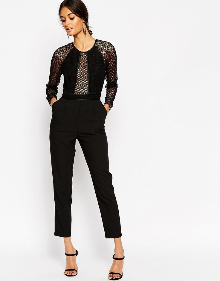 ASOS Premium Jumpsuit with Structured Lace Bodice