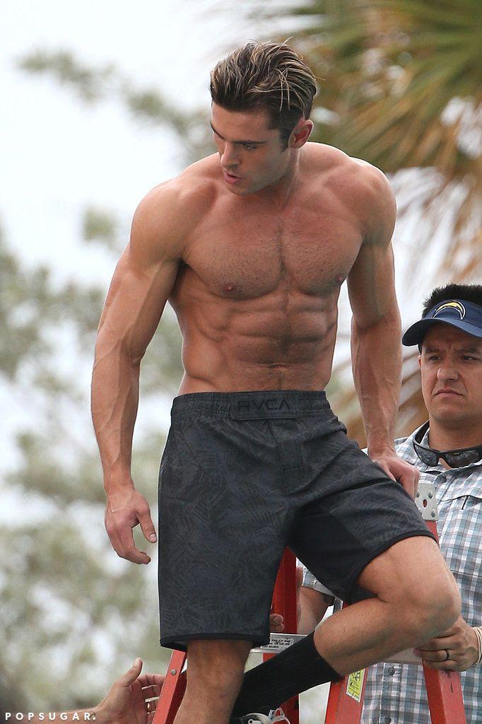 Zac Efron Shirtless Baywatch Movie Set Pictures   POPSUGAR Celebrity