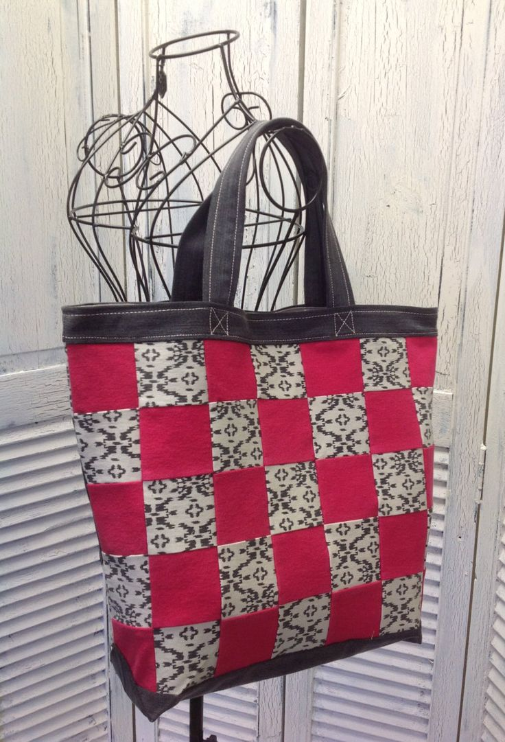 Bleu Redux Upcycle Pink & Gray Checkered Denim Tote (DB18) by GrandmaRietas on Etsy