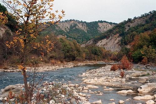 Venetikos river during autumn in Kipourion Dytiki Makedonia Greece