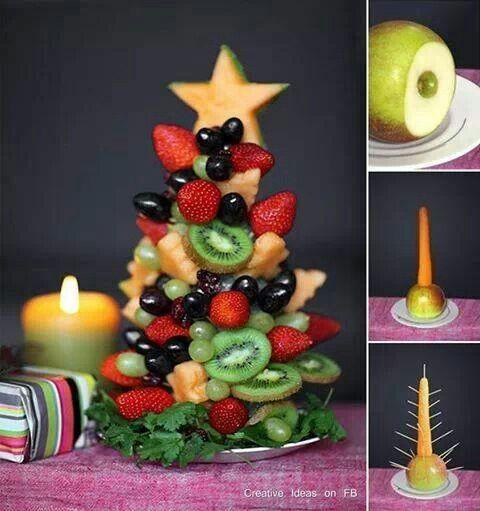 Vilken rolig idé till julfesten! Julgran av frukt. (Healthy christmas treeeat)