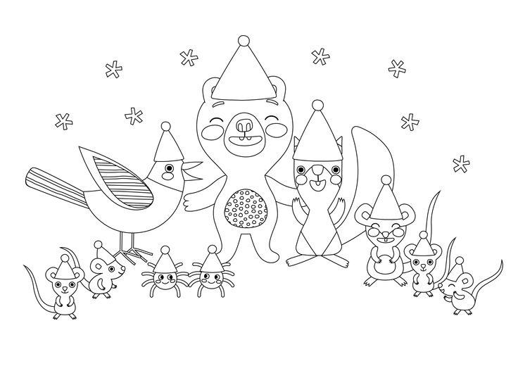 Värityskuva | free printable pattern | lasten | lapset | joulu | idea | askartelu | kädentaidot | käsityöt | tulostettava | kuva | paperi | värittäminen | väritys | värittää | hiiri | orava | karhu | nalle | harakka | koti | leikki | DIY | ideas | kids | children | crafts | paper | picture | coloring | mouse | christmas | home | magpie | bear | mouse | squirrel | Pikku Kakkonen