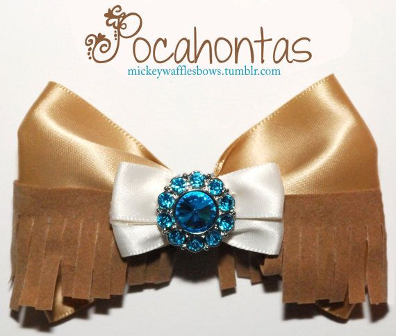 Pocahontas Hair Bow by MickeyWaffles on Etsy. Omg it has fringe!! It's so cute and stereotypical at the same time.
