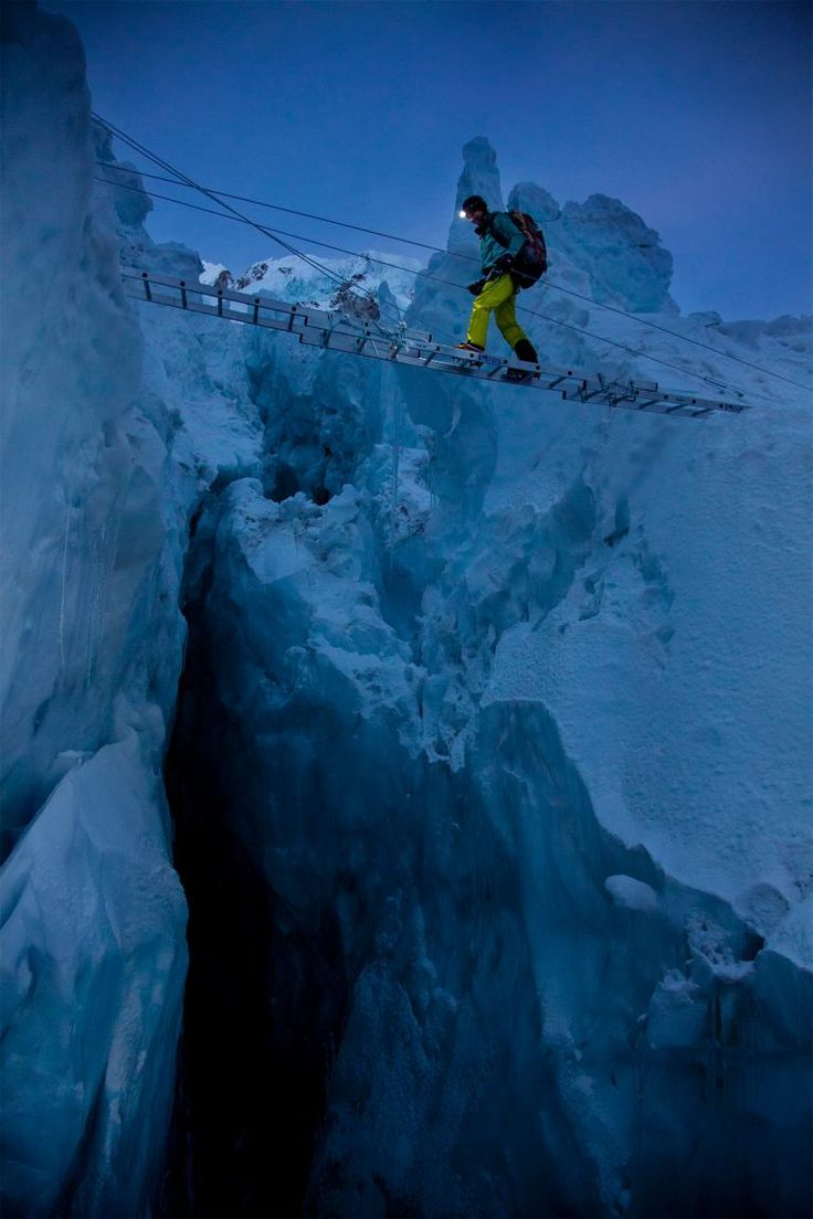 Ice Doctors at work - When you're a Sherpa, and Mount Everest is a construction site - at Khumbu Icefall (Photo © Andy Bardon)