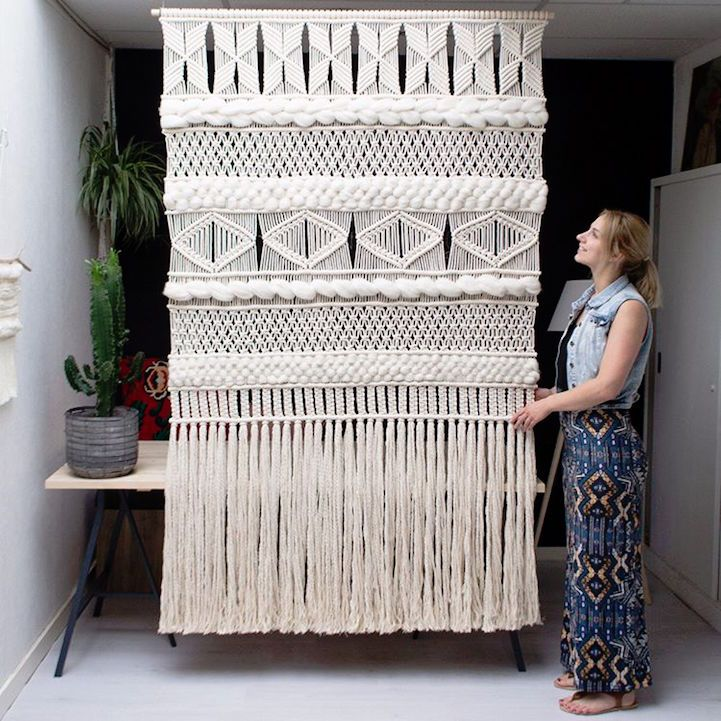 Artist Rianne Zuijderduin's dreamy macramé creations blur the line between bohemian simplicity and polished elegance. From large-scale wall hangings to petite plant holders, the Netherlands-based artist presents a contemporary twist on the classic craft. Zuijderduin's distinctively geometric macramé collection is as diverse as it is beautiful. Unlike knit or woven textiles, macramé is fabricated by meticulously knotting cords into intricate patterns, resulting in exquisitely detailed designs…