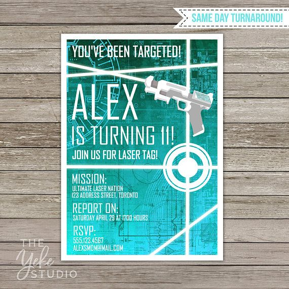 Laser Tag Invitation  Laser Tag Birthday Party  by TheYekeStudio