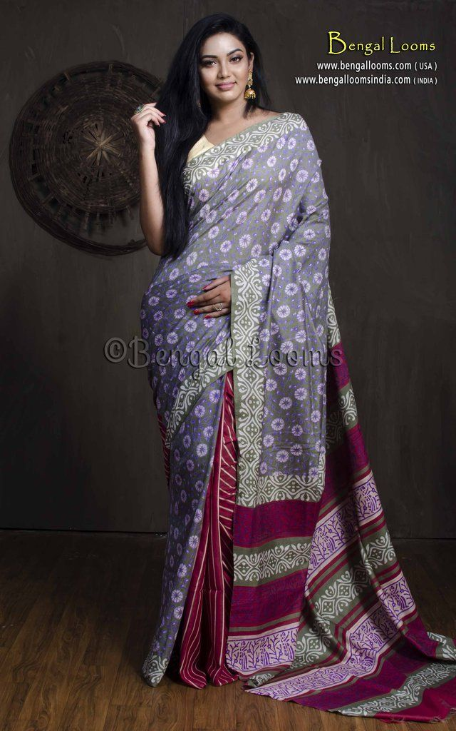 420a1c87415ae Hand Block Floral Printed Patli Pallu Tussar Silk Saree in Gray and Maroon