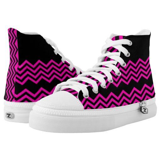 Modern Hot Pink Black Chevron Stripe