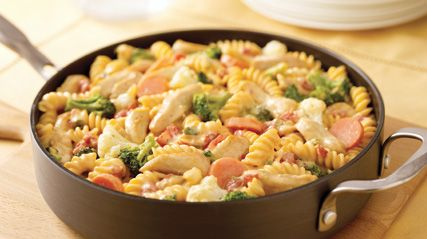 VELVEETA-Cheesy Chicken Rotini going to try this tonight with out the hot rotel, there is a rotel out there that has no peppers.
