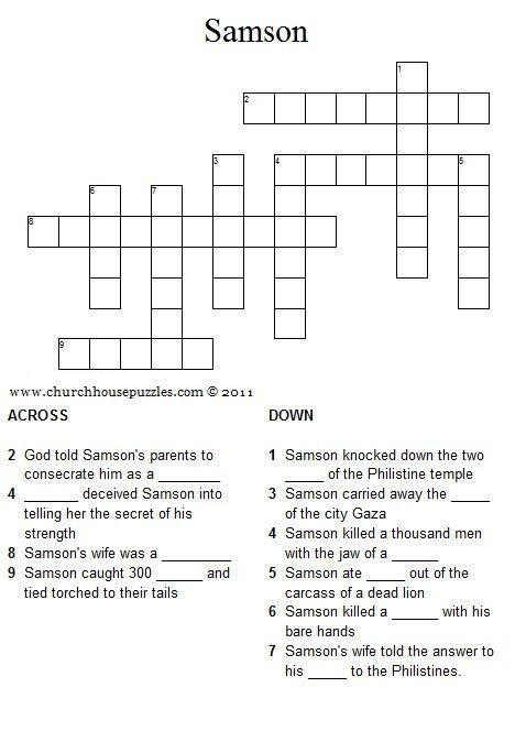 Samson crossword puzzle. Mystery of History Volume 1, Lesson 28 #MOHI28