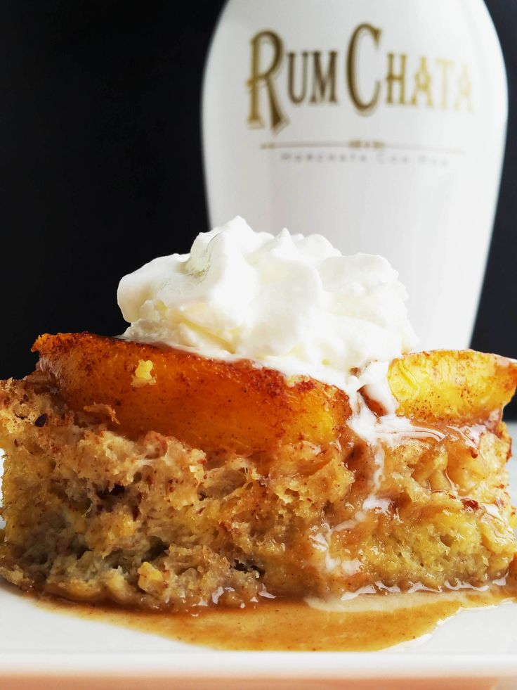 This delicious overnight Peach French Toast is topped off with a delectable warm Rum Chata sauce!