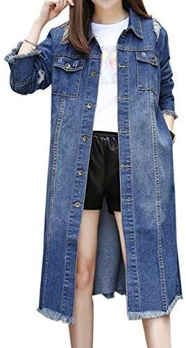 7a07c4d4b4c6 Beautiful Gihuo Women s Long Ripped Distressed Boyfriend Jean Denim Jacket  Overcoat online.   39.99  fgofashion from top store