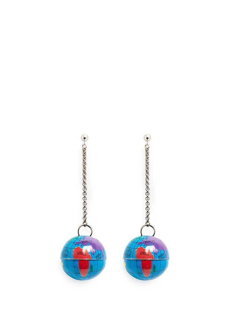 VENESSA ARIZAGA - 'Around the World' globe drop earrings | Blue Earrings Fashion Jewellery | Womenswear | Lane Crawford