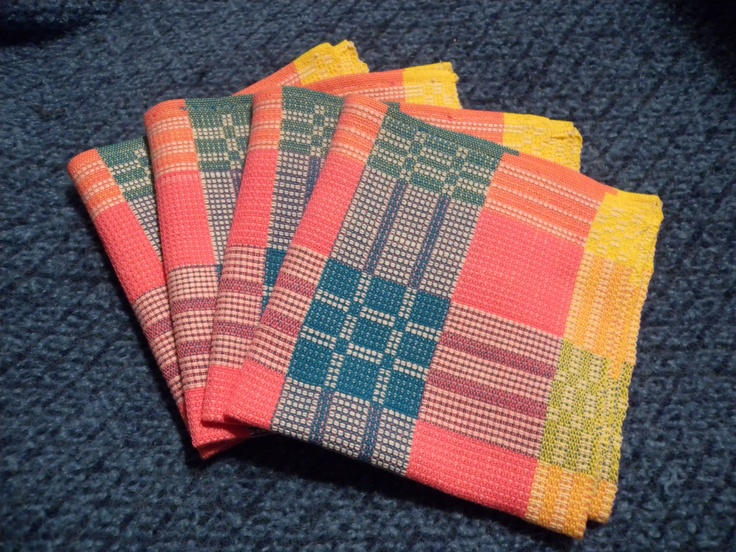 My beautiful handwoven napkins - Finally finished, and almost too pretty to use!              - weaving and photo by Holly Hardman