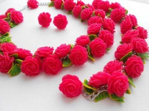 """Комплект """"Розовые розы"""" из полимерной глины - YouTube"""