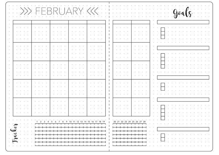 Bullet Journal February Set Up Template