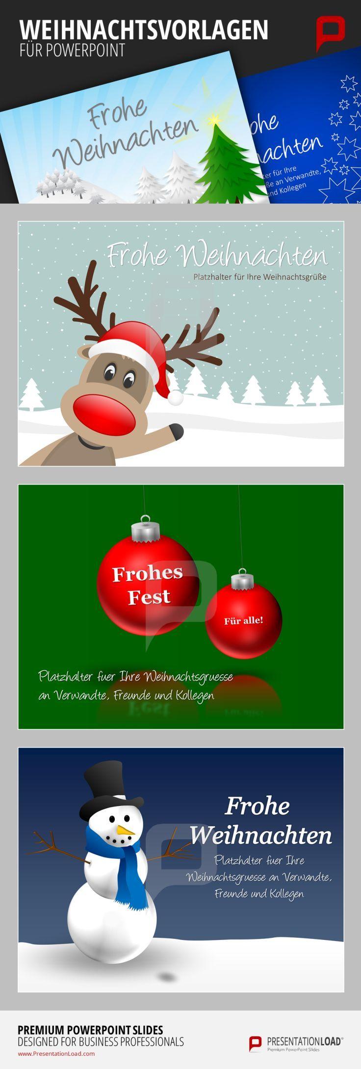 Ob Rudolph, Weihnachtskugeln oder Schneemann - mit diesen schönen Weihnachtsvorlagen für PowerPoint entzücken Sie sowohl Kunden als Freunde.