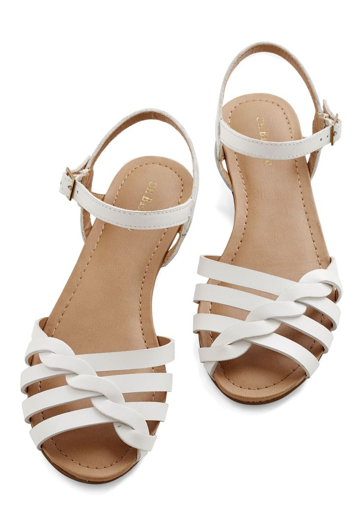 Come Out and Plait Sandal in White. When you put on these white sandals by Bass, you're ready to skip out into the sunshine and down the sidewalk with your friends! #white #modcloth
