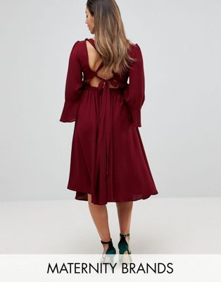 Queen Bee Fluted Sleeve Midi Skater Dress With Strappy Back