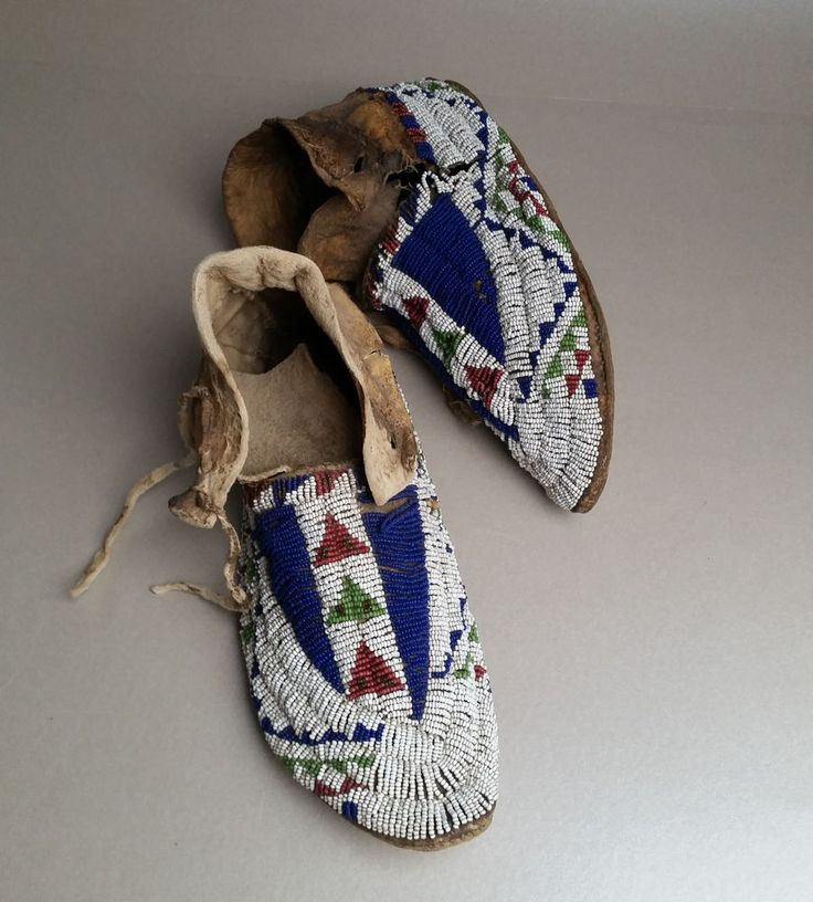 Attractive Antique Sioux (Lakota) Beaded Moccasins ca 1890 condition issues.