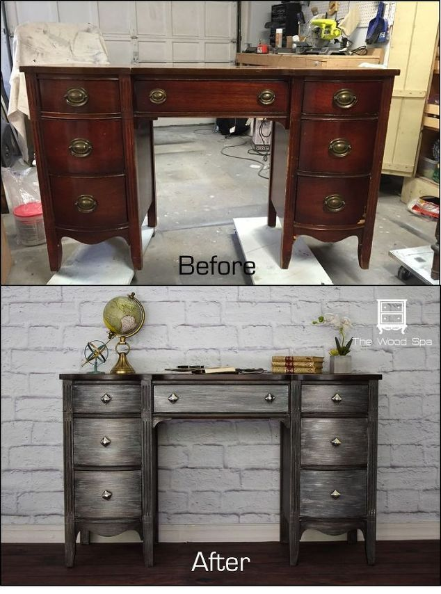 a desk painted with metallic effects, how to, painted furniture