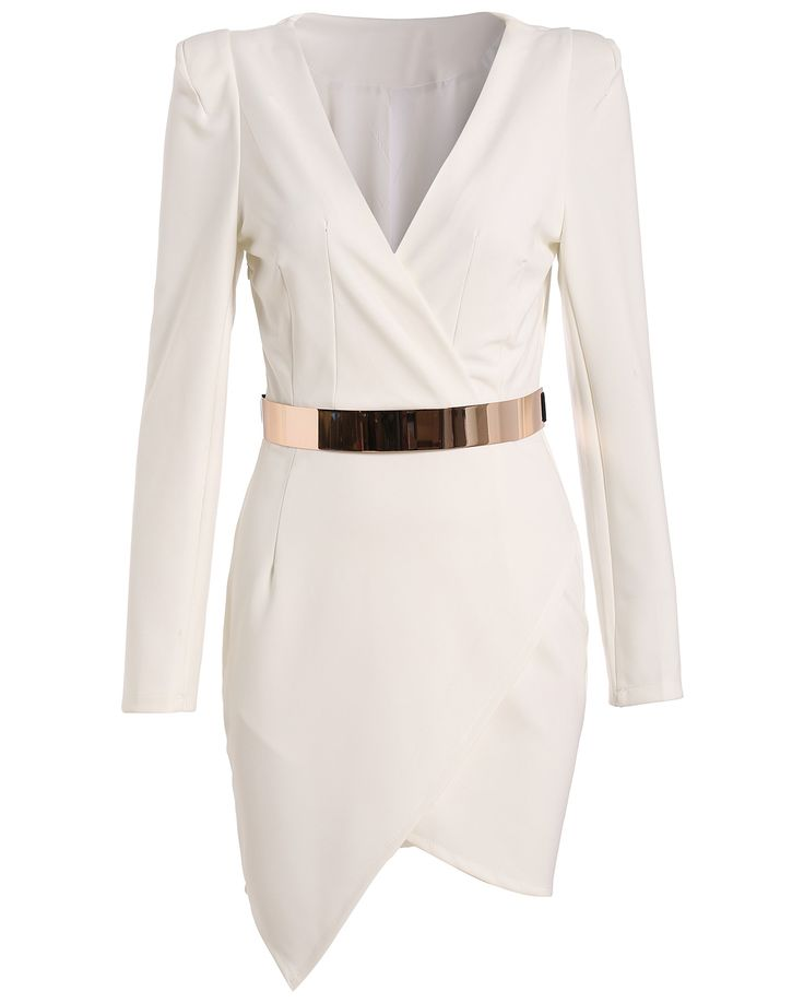 Shop White Long Sleeve V Neck Asymmetric Dress online. Sheinside offers White Long Sleeve V Neck Asymmetric Dress & more to fit your fashionable needs. Free Shipping Worldwide!