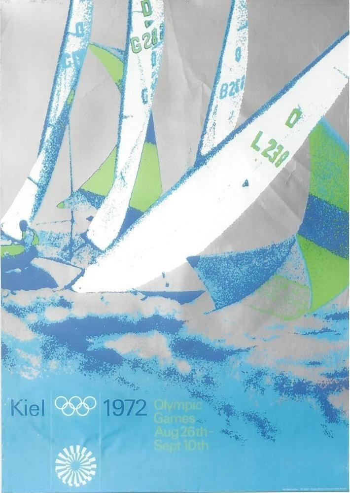 """1972 Munich Sailing (Kiel) Olympic Poster Size: 23.5""""x33"""" Condition Very Good A- in Sports Memorabilia, Olympic…"""