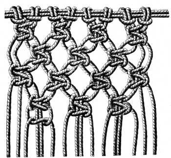 Macrame materials and implements, macrame knots, macrame shuttles, macrame patterns