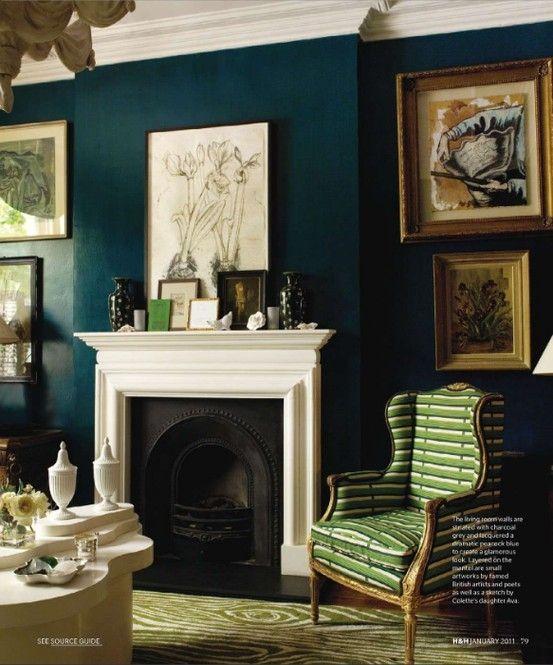 Green, deep sea blue, fireplace, cozy chair