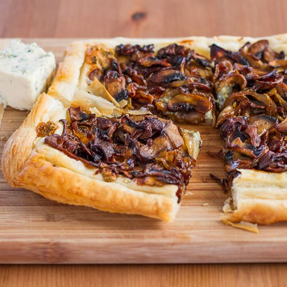 Caramelized Onions and Mushrooms Tart with Blue Cheese   Recipe ...
