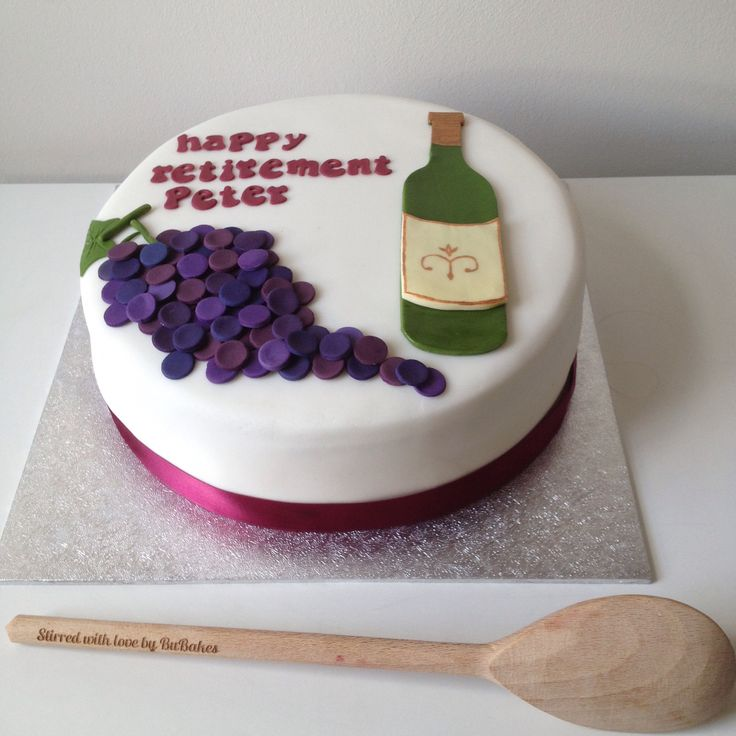 Wine themed retirement cake. Made by www.BuBakes.co.uk For more creations, tips and competitions like us at Facebook.com/bubakes