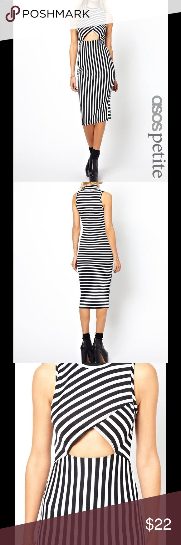 ASOS Striped Body-Conscious Dress W/ Cut Out Front ASOS PETITE Exclusive Striped Body-Conscious Dress With Cut Out Front ASOS Dresses Midi