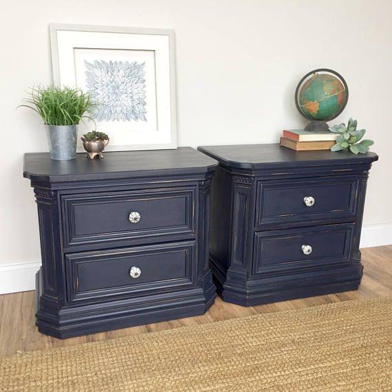 Navy Blue Nightstands  Thomasville Bedroom Furniture  Pair