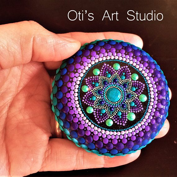 Mandala Stone DENDROBIUM ORCHID MANDALA-Hand Painted