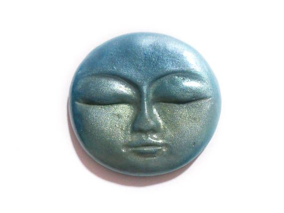 Shimmer Blue. Metallic Blue Cabochon Metallic Effect