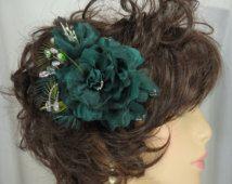 Green Hair Flower, Wedding Hair Rose, Rose Fascinator, Bridal Hair Accessory