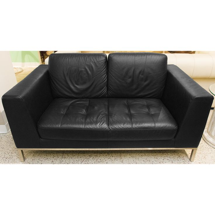 modern italsofa black leather loveseat - Black Leather Loveseat