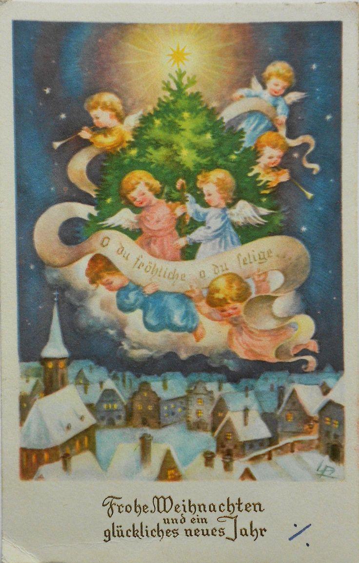 Luise Reiher - ENGEL mit Christbäumchen schweben über Winterdorf - 1954   eBay