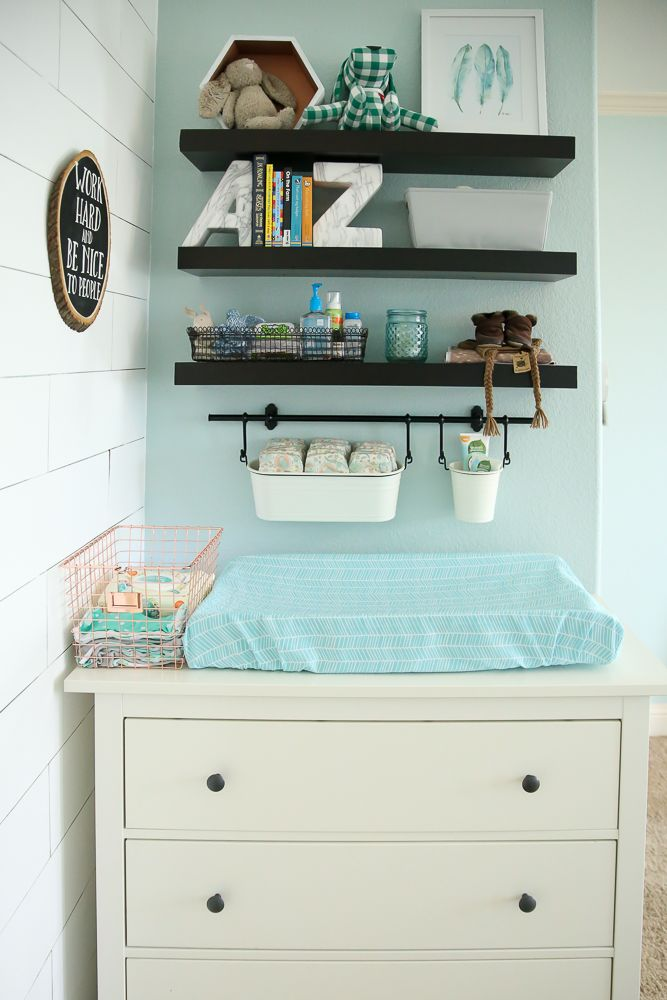 "'I love using the FINTORP system from Ikea to organize above the diaper changing area!"" Babyrabies.com"