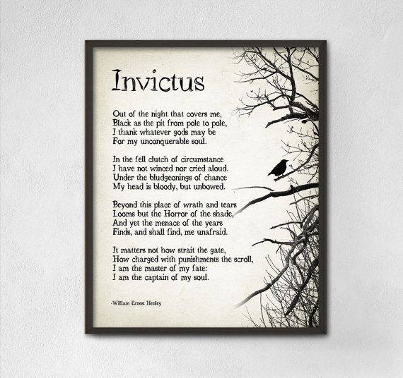 Invictus Poem by William Ernest Henley Typography by QuantumPrints
