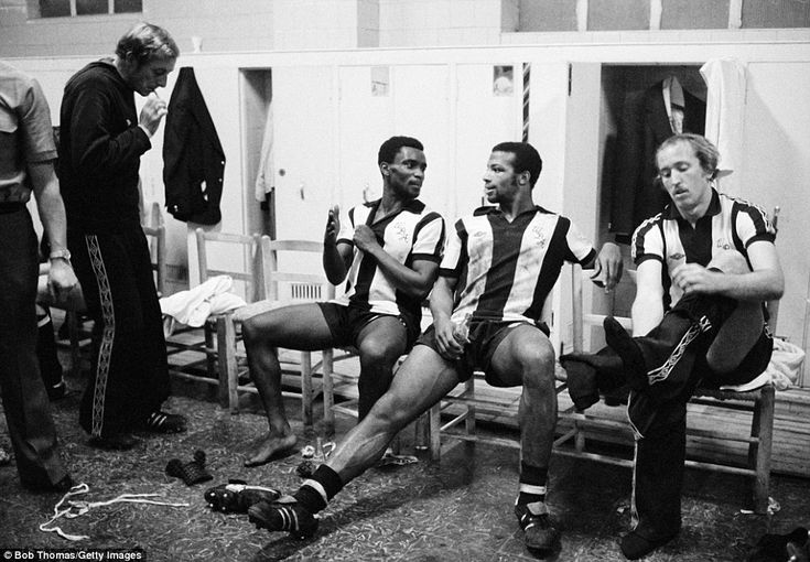 West Brom pair Laurie Cunningham and Cyrille Regis unwind in the dressing room after Albion's UEFA Cup clash with Valencia in Spain in 1978.