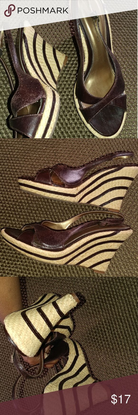 Bandolino Brown Striped Wedges Size 9.5 Sexy brown wedges. Size 9.5. Size tag removed but they are 9.5. Used but in Great condition. Steve Madden Shoes Wedges