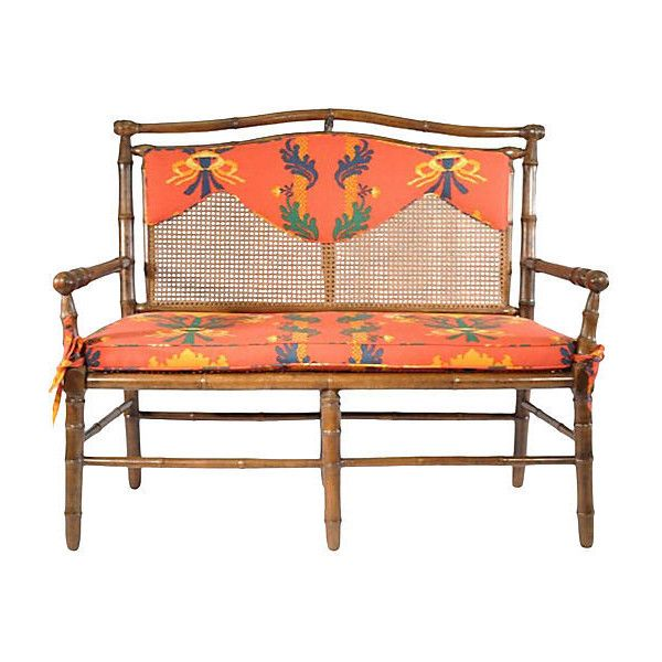 Pre-Owned English  Caned-Back Bamboo Settee ($995) ❤ liked on Polyvore featuring home, furniture, sofas, cane sofa, bamboo furniture, floral loveseat, floral couch and second hand sofa
