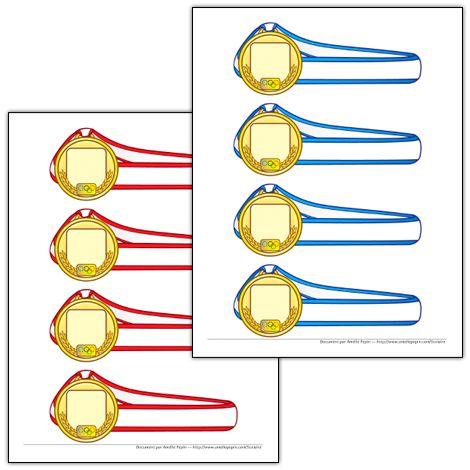 Fichiers PDF téléchargeables En couleurs et en noir et blanc 4 médailles par page  Ce modèle de médaille vous permet d'écrire quelques mots sur le ruban. Le document en couleurs contient 5 pages, une page par couleur des Jeux Olympiques.