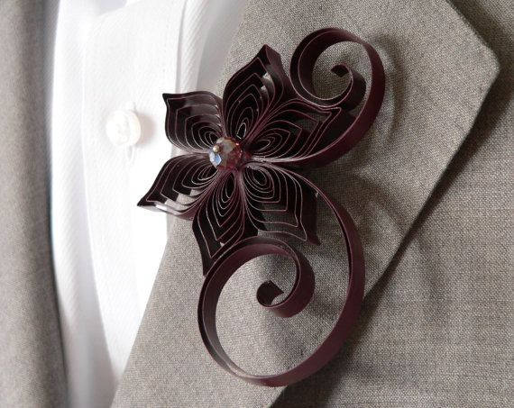 Maroon Boutonniere Burgundy Buttonhole Maroon by LoveAccented