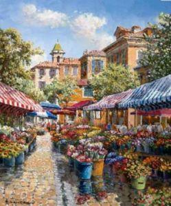 Nice Flower Market - Díszítette Giclee vászon - 24 x 18