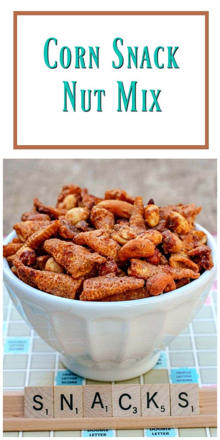 Corn Snack Nut Mix combines warm spices with orange juice and zest to give you a delicious snack you can take anywhere. via @https://www.pinterest.com/BunnysWarmOven/bunnys-warm-oven/