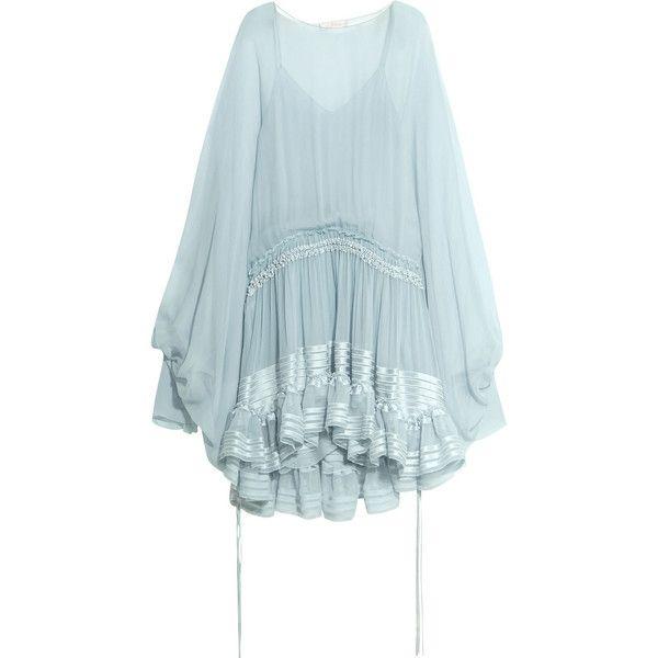 Chloé Ruffled silk-mousseline dress ($3,375) ❤ liked on Polyvore featuring dresses, frilly dresses, ruffle hem dress, slip on dress, blue slip and flutter-sleeve dress