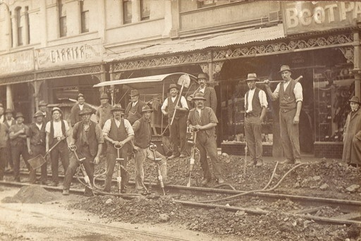 Laying of tram tracks Glenferrie Road Malvern, ca. 1910.