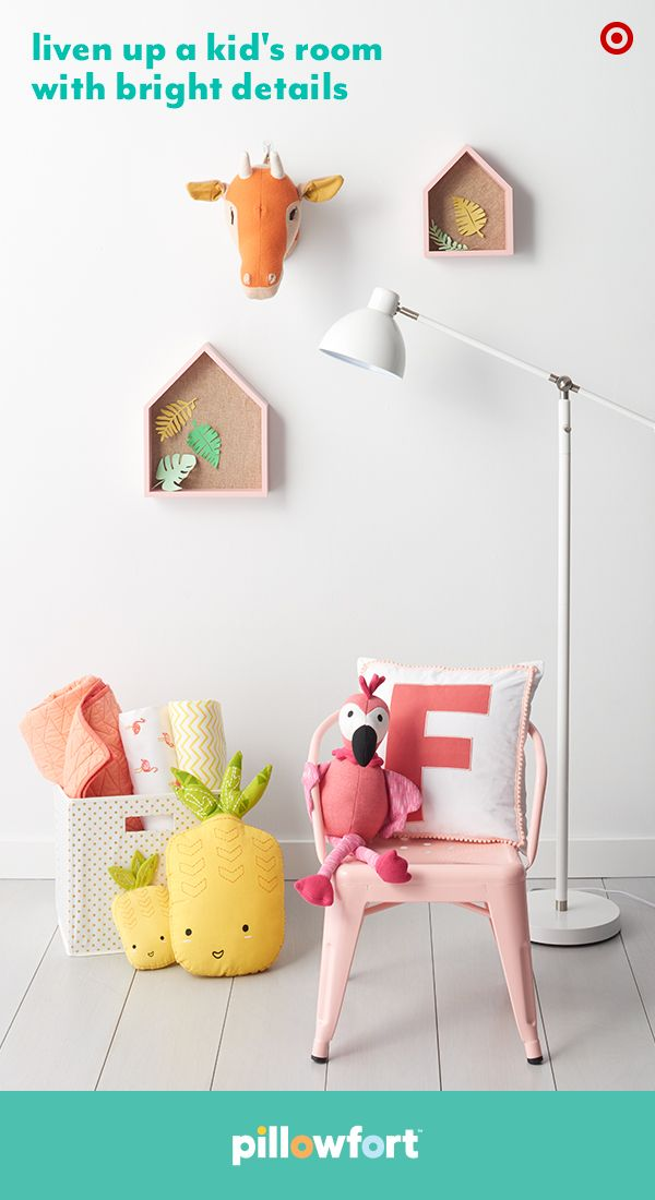 Summer is always in the air, thanks to Pillowfort's tropical-inspired accessories in the Tropical Treehouse collection. Add color and whimsy to walls with animal head mounts or house-shaped shelving (which are also ideal for storage or displaying favorite toys), and pineapple pillows and a flamingo friend help boost imagination in bedrooms or playrooms.